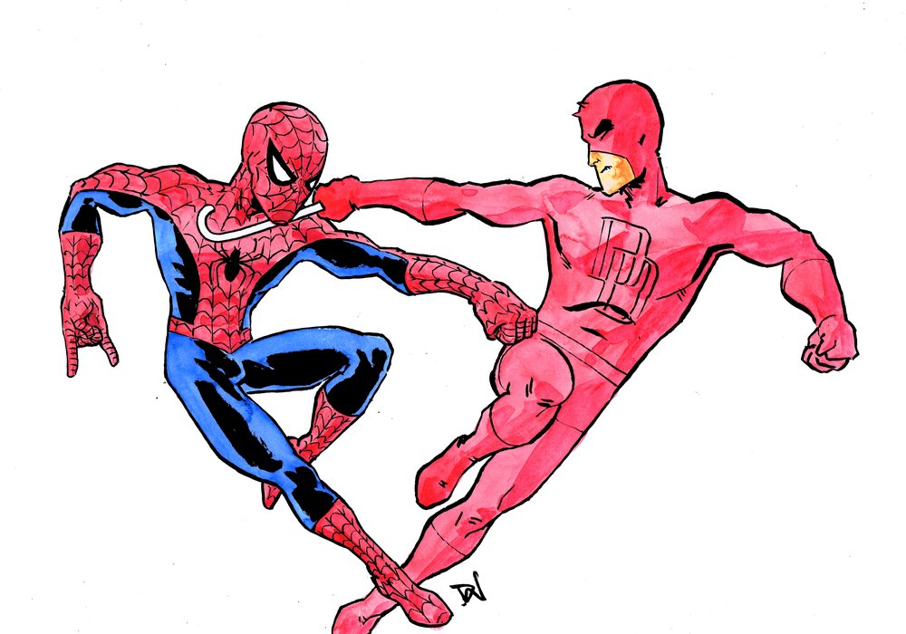 Spidey vs DD - art by David Wynne