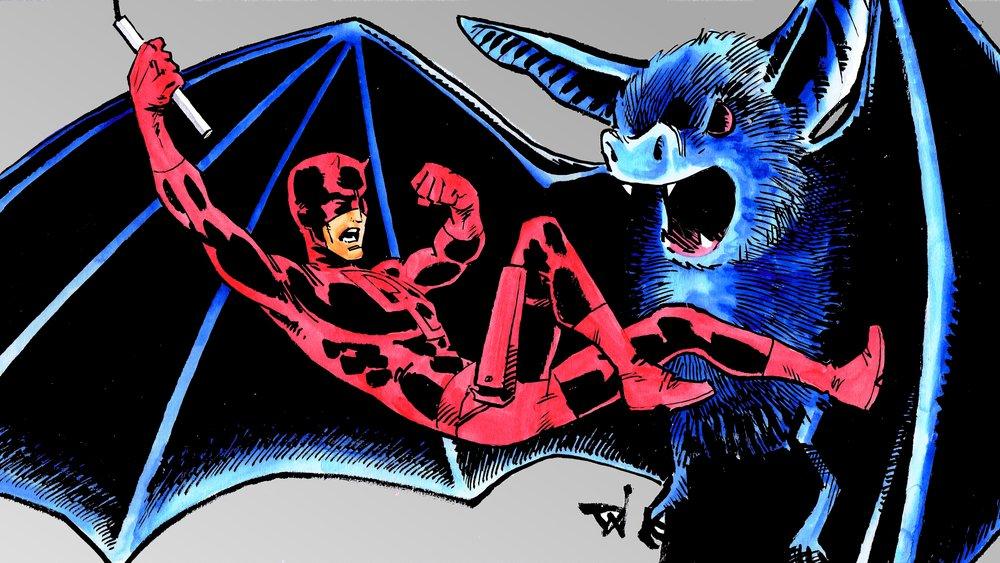 Red Batman and a big bat, man - art by David Wynne