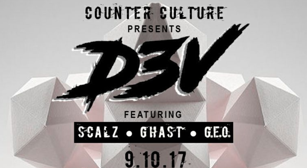 Sunday, September 10th  at Wonderbar  Counter Culture Presents: D3V Music by  D3V  | DJ Scalz | Dj GhasT | DJ G.E.O.  9PM / 21+