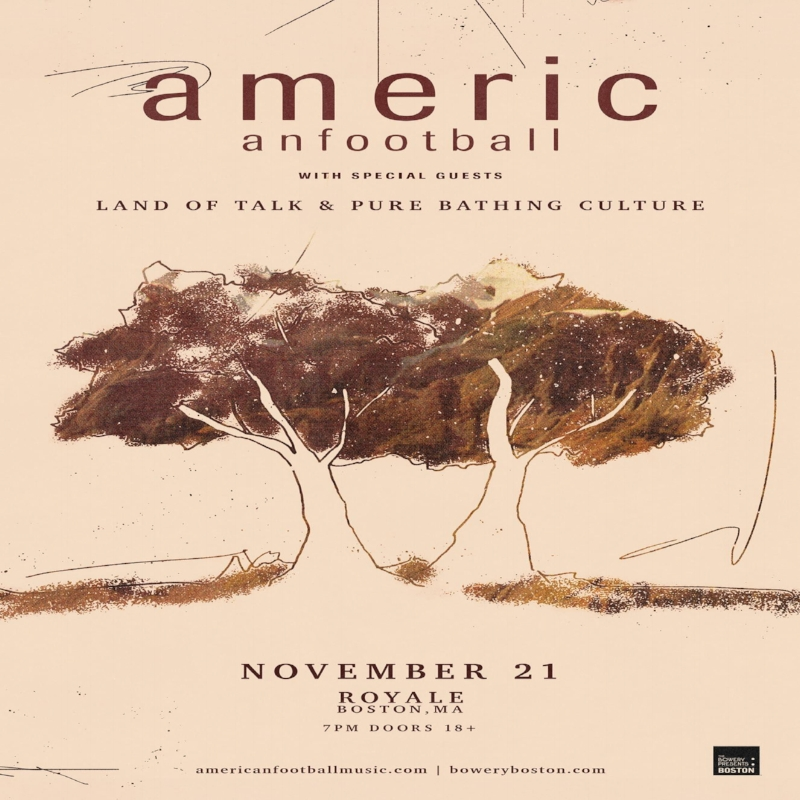 Tuesday November 21st @ Royale   American Football  Music by American Football 7pm / 18+|$27.50 adv, $30 door.