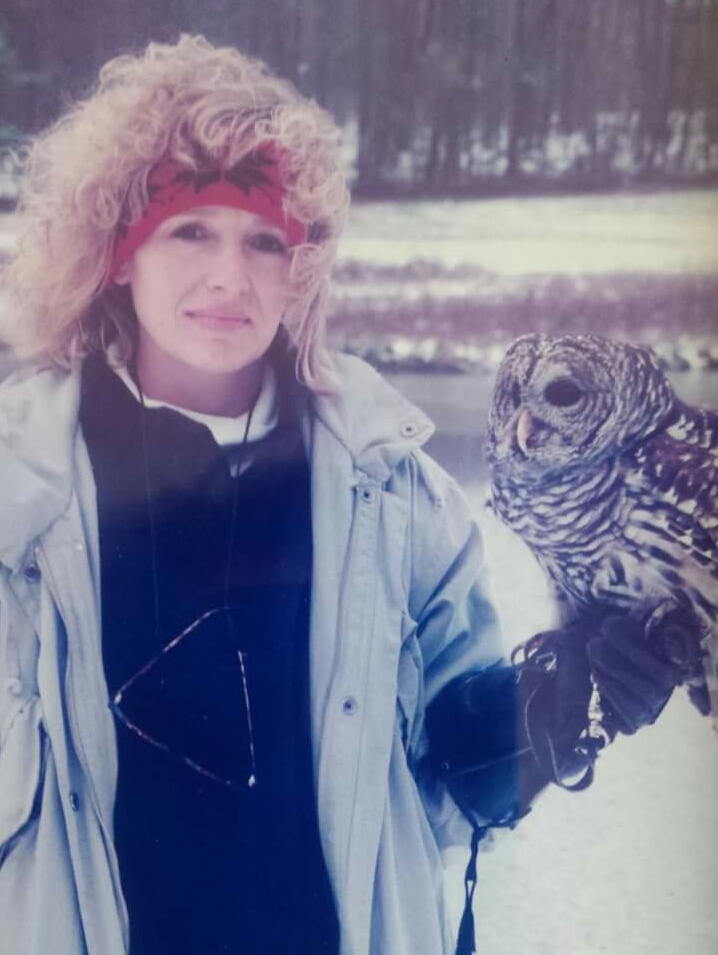 Wizard, a Barred Owl that was blinded when she collided with a vehicle and could not be released to the wild after recovery.