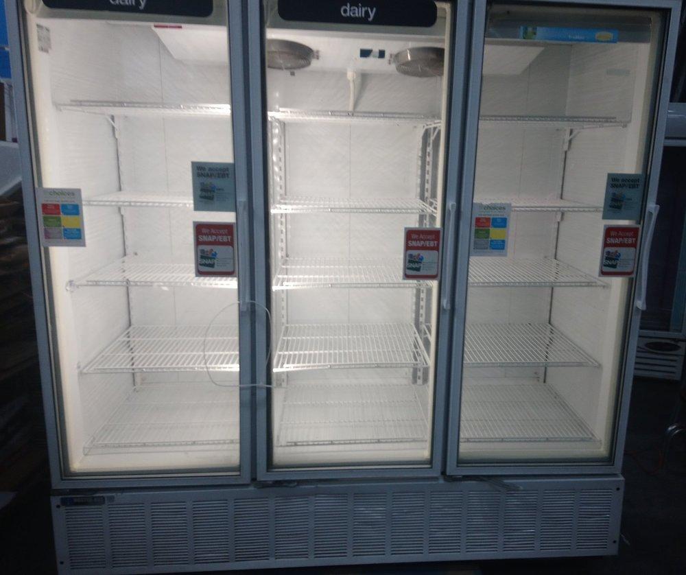 3 Door Display/Beverage Cooler $ 1800.00 ( OBO* )    3 Months Warranty / 115 Volts / 70.2 Cu.Ft. / Reconditioned