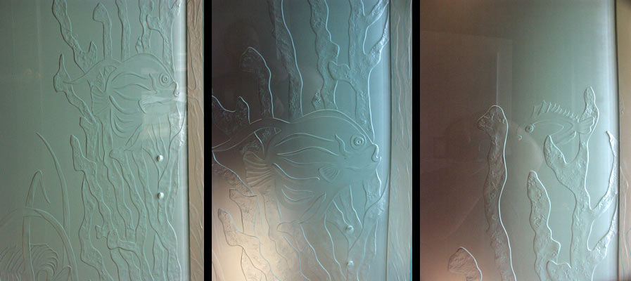 """Come Up For Air"" Multi-panel underwater mural/shower enclosure"