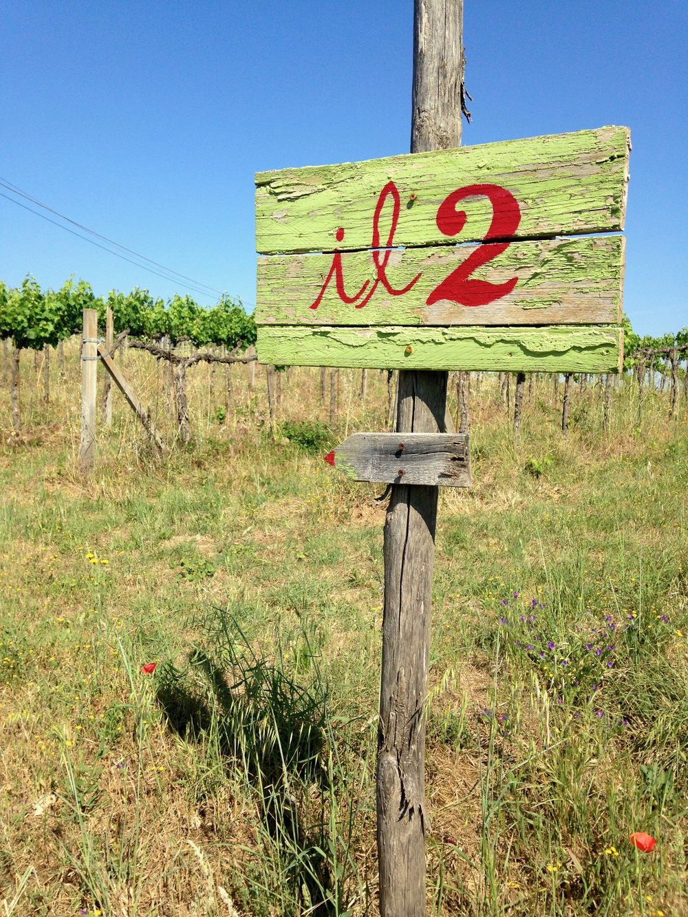 The signpost for one of the villas at the winery