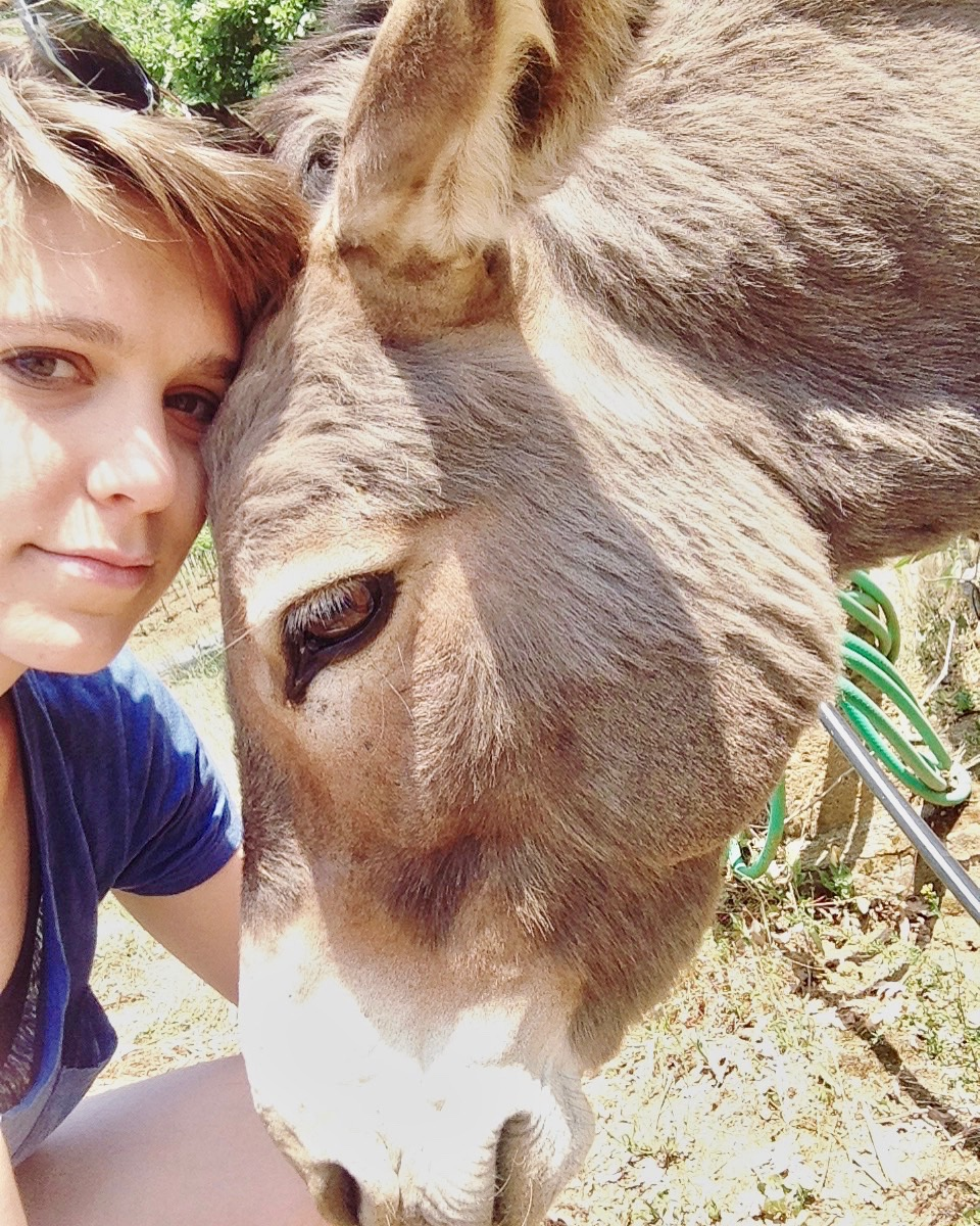 With the resident donkey, Gelsomino