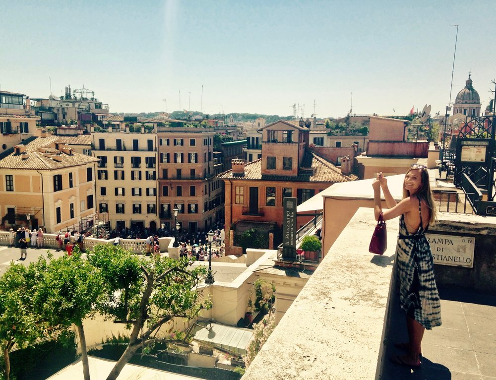 My sister above the Spanish Steps in Roma