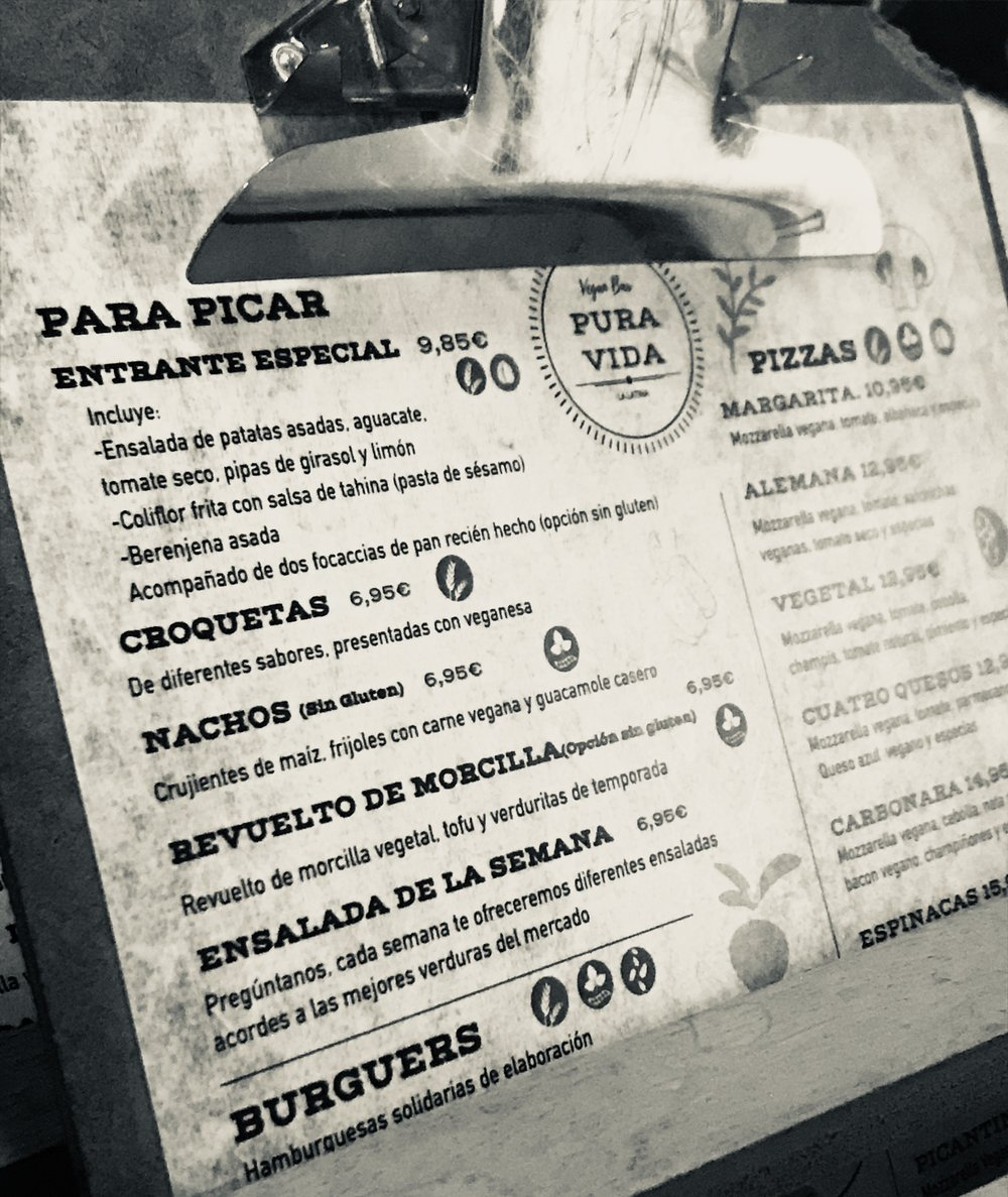 The menu at Pura Vida Vegan Bar