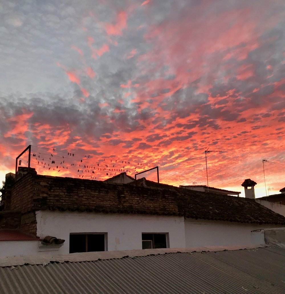 Sunset view from the terraza of the first house I lived in here