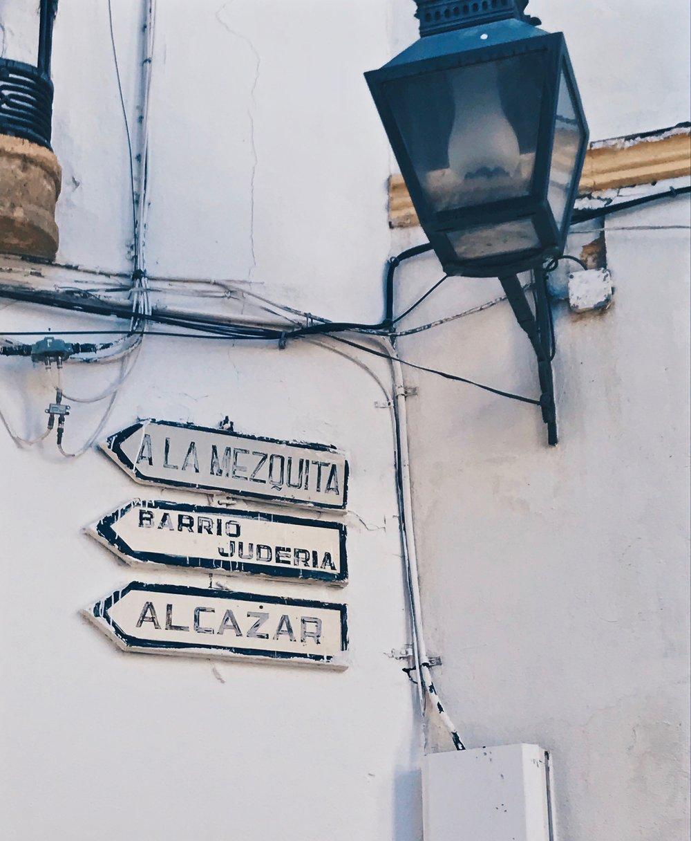 Old signs in la Judería, the city's ancient Jewish quarter