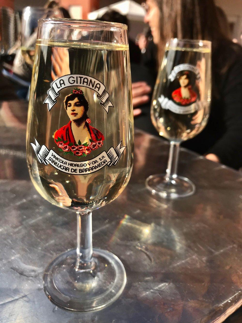Glasses of  fino , Córdoba's homegrown dry white wine, in a bar on Plaza de la Corredera