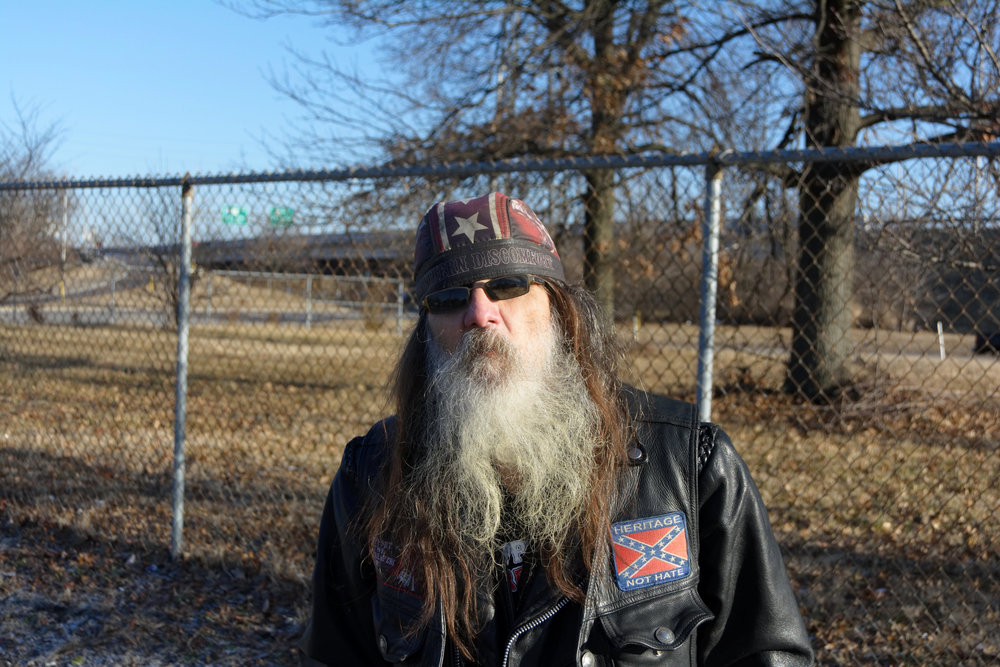 """""""They call me Harley. I've been dressing like this since I was kid. I ain't had a drink in 30 years and I don't do dope no more, I've straightened up. I just get on my Harley and take off when it's warm.  I lost my brother from cancer in 2010. My brother was my biggest influence and my best friend. I lost my older sister and my nephew to cancer, too. My dad committed suicide on July 2nd, 1992. He hung himself. I'm the only one left."""" - Harley, Portland"""