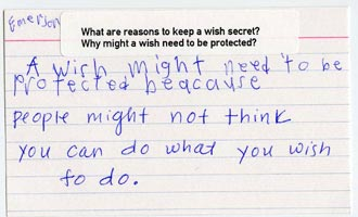 "Explaining why a wish might need to be protected: ""A wish might need to be protected because people might not think you can do what you wish to do."" –Emerson"