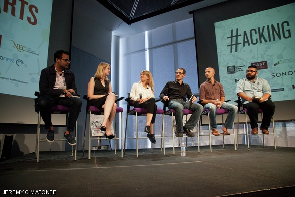 The Digital Canvas: Art Beyond Gallery Walls Panelists from left: Aditya Julk, Lindsay Moroney, Kelly Sherman, Sam Aquillano, Jeff Lieberman, and Evan Garza.  Photo: Jeremy Cimafonte