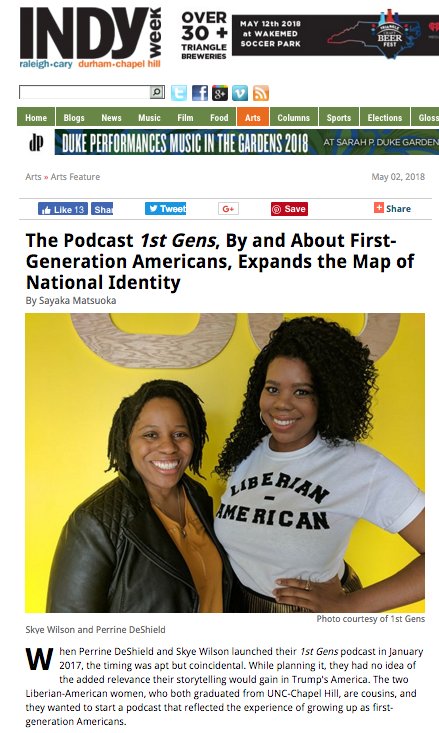 Check out our interview with Indy Week here:  https://www.indyweek.com/indyweek/the-podcast-1st-gens-by-and-about-first-generation-americans-expands-the-map-of-national-identity/Content?oid=13864969
