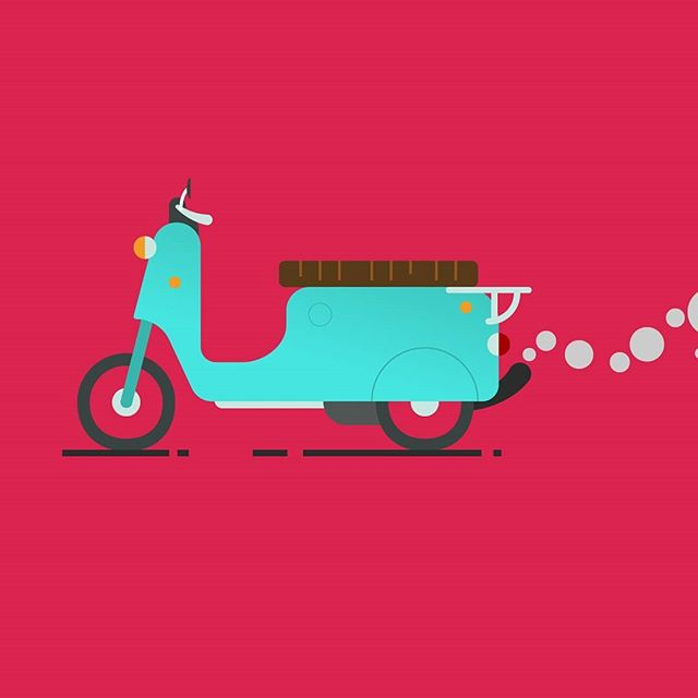 354/365 - A lil scooter. Why not. XD _ _ @yeoman_guard_designs #create365  #illustration  #vector  #designer #design #vectorart #graphicdesign #dailydesign #vectorillustration #icon #iconography #scooter  #vehicle #brapbrap #journey #motorbike