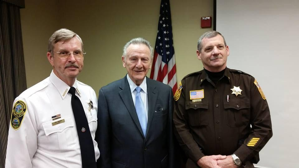 DURING A 2016 PRESENTATION, JIM FITZGERALD, LECF President, POSES WITH SHERIFF DANNY DIGGS AND SHERIFF MARK BARRACK IN GLOUCESTER, VA.