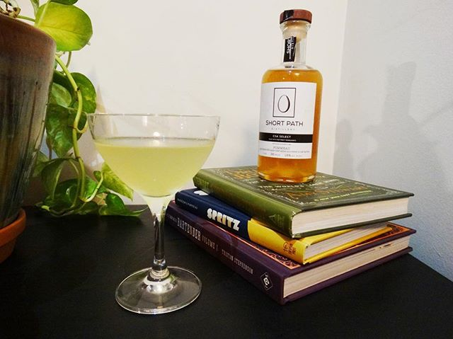 Been wanting to use this Short Path Distillery Pommeau from my CSA for a while now.  Introducing The Normandy - a slight riff off the Sidecar.  1 oz Pisco 0.5 oz Short Path Pommeau 1 oz Cointreau 0.5 oz fresh lemon juice 2 drops Angostura bitters