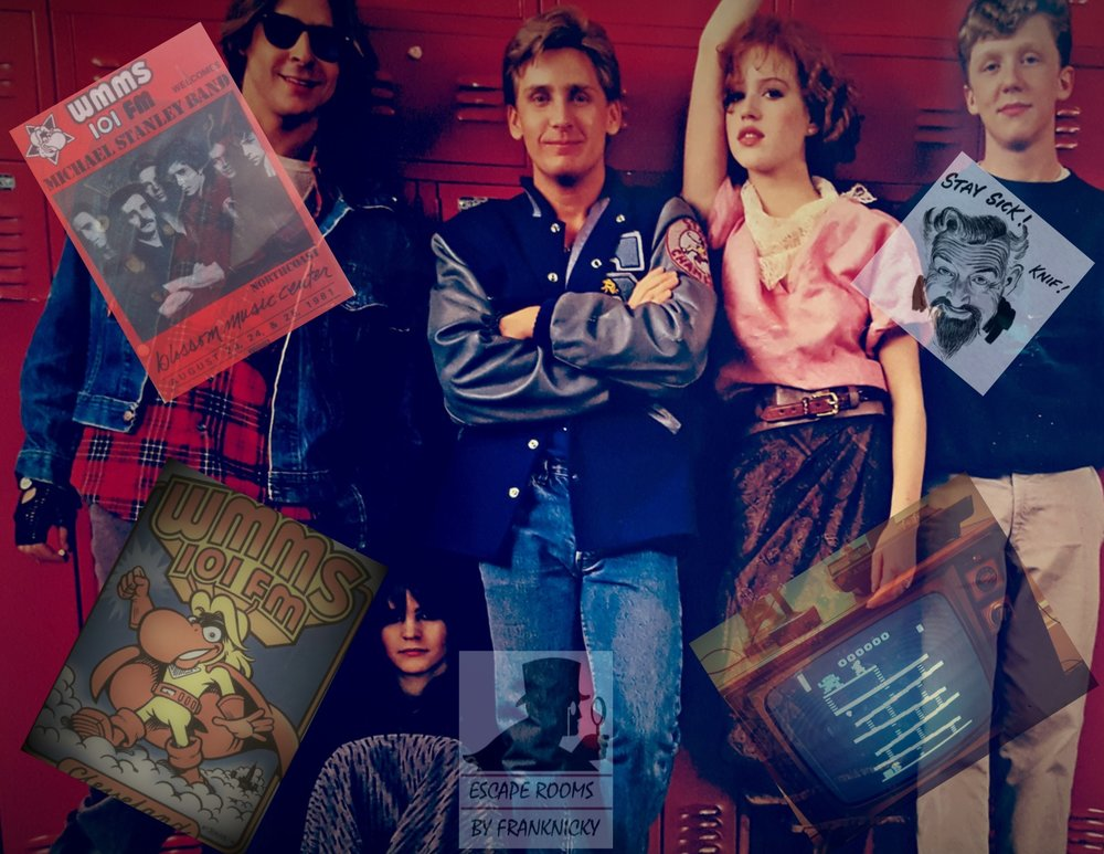 Trapped in the 80s   The only thing that Bert Nelson loved more then his two cats was the 80s. He was... obsessed. But, most of all, Bert loved John Hughes movies. He spent his days living in a time capsule all while working on a elaborate tribute to the man he idolized. A tribute in the way of a treasure hunt that the wittiest Sherlocks could have a chance at solving and the prize? An end to the spellbinding mystery of what happened to the lost film from the man who told the story of a generation, the generation of the 80s.   Use your knowledge of the 80s to solve this mystery.                                   2 to 8 players