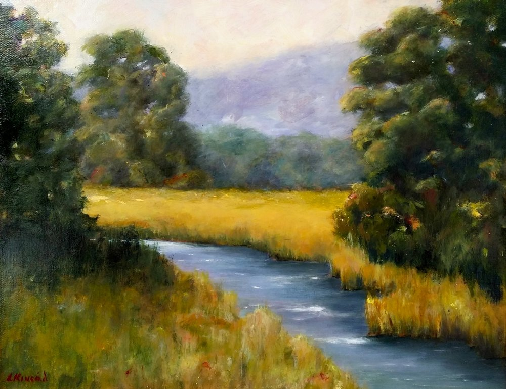 Stream by the Mountain; oil on canvas; 16 x 20;   SOLD