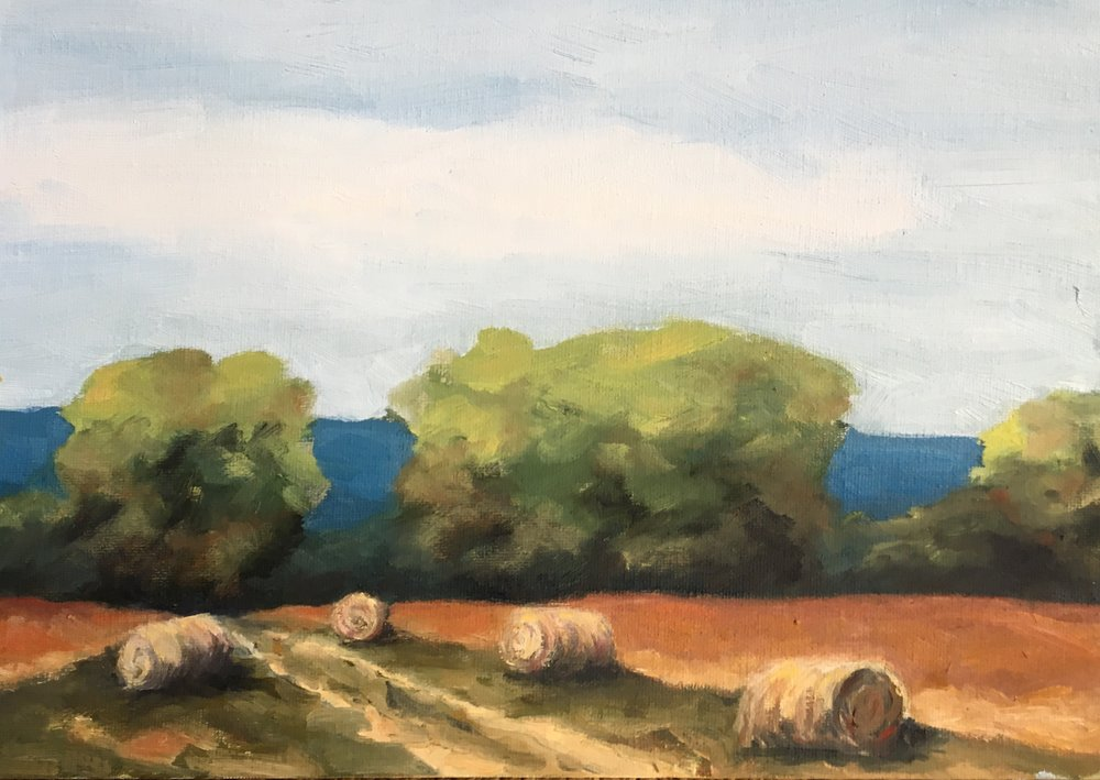 Hayfield; oil on canvas; 9 x 12; $470