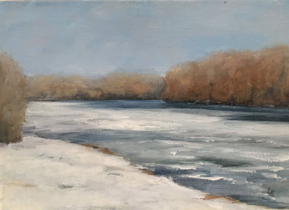 River in Winter; oil on canvas; 5 x 7