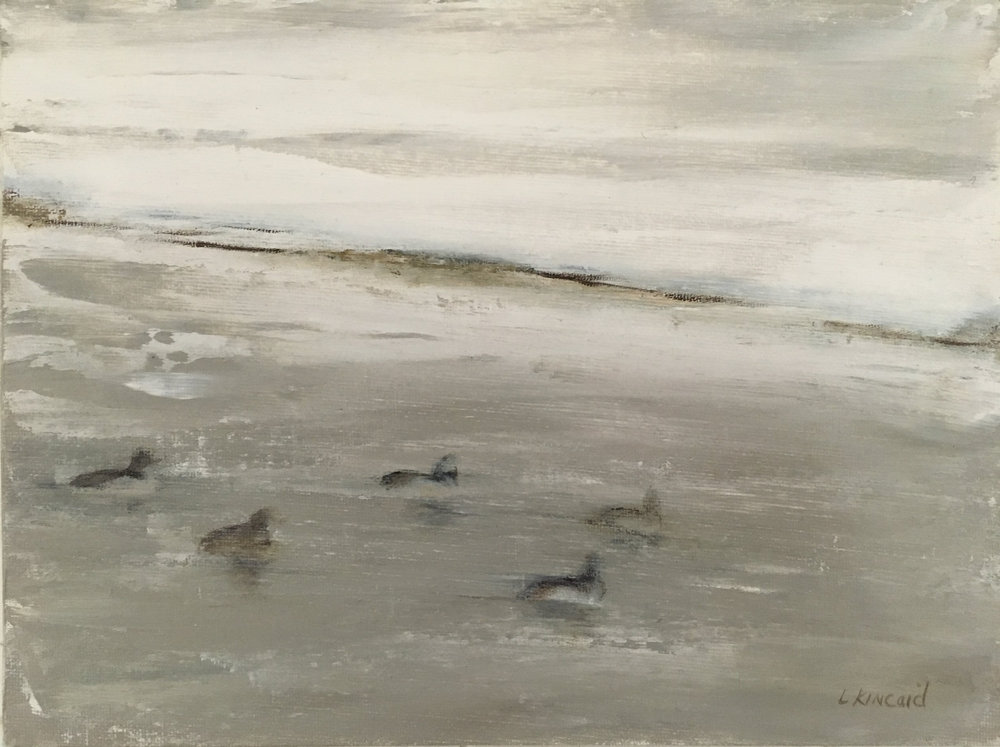 Ducks in Snowstorm; oil on canvas; 9 x 12