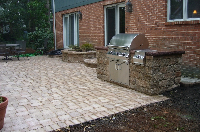 New brick grill with countertop stone