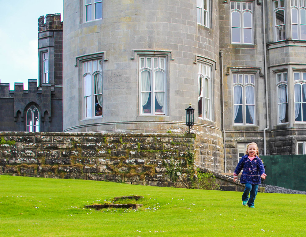 Running free on the front lawn of Dromoland Castle Hotel in County Clare