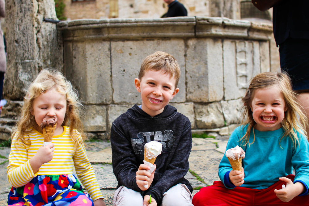 The first of many gelatos in Tuscany, compliments of Gelateria Dondoli