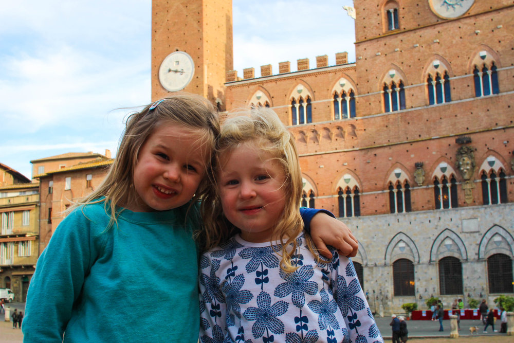 Sisters in the Piazza del Campo, Siena