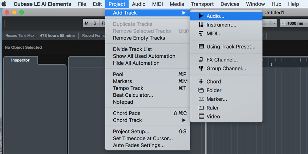 Project> Add Track>Audio...