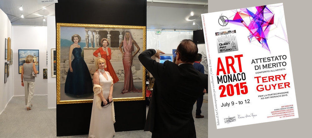 "A formally dressed lady posed in front of ""The Three Graces"" for a photograph by her husband during the black tie opening of Art Monaco 2015."
