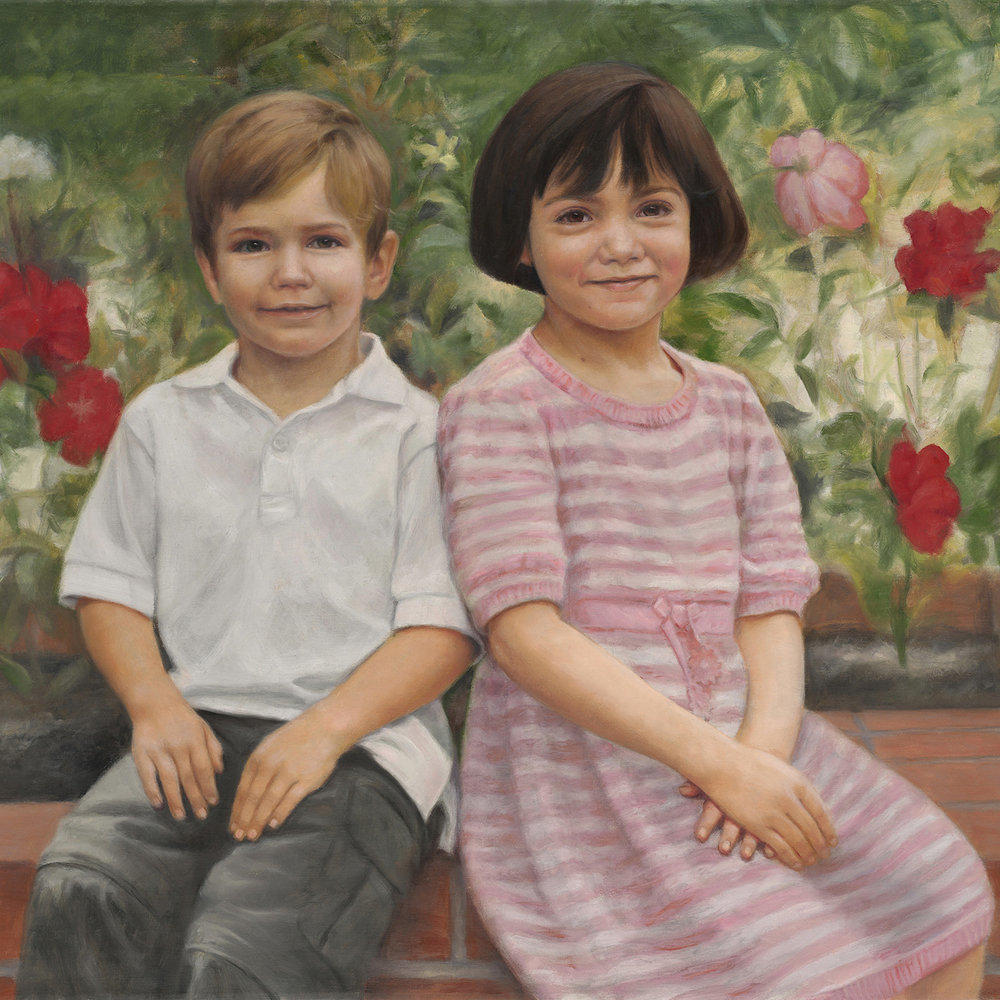 The Rice Children, Oil on Linen 20x30""