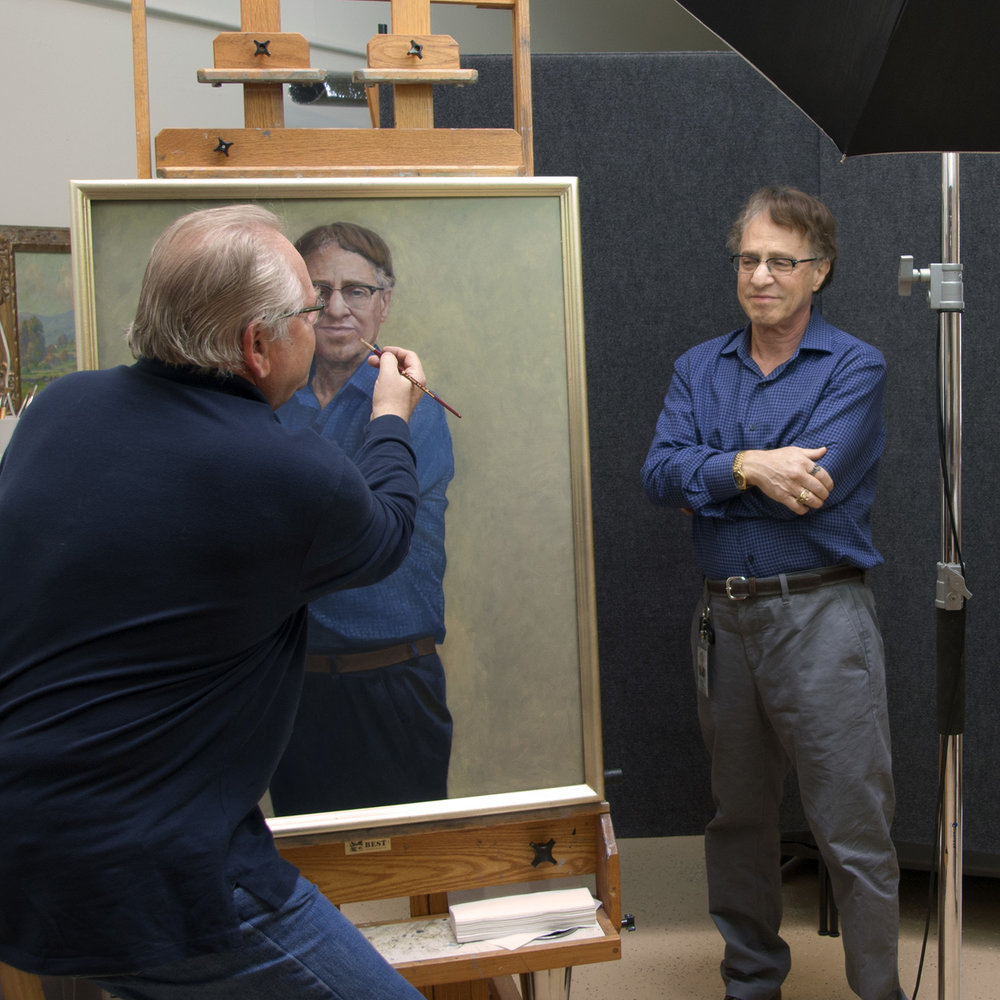 Ray Kurzweil sitting for his portrait. He made time in his busy schedule to have his portrait done from life.