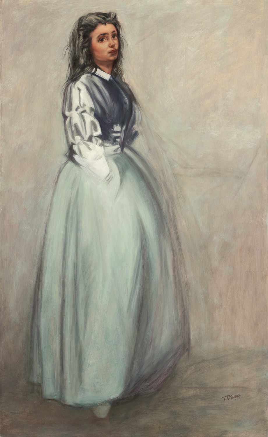 """ Fumette Standing"" after a James Abbott McNeill Whistler Etching,  40x25.5"" oil on linen"