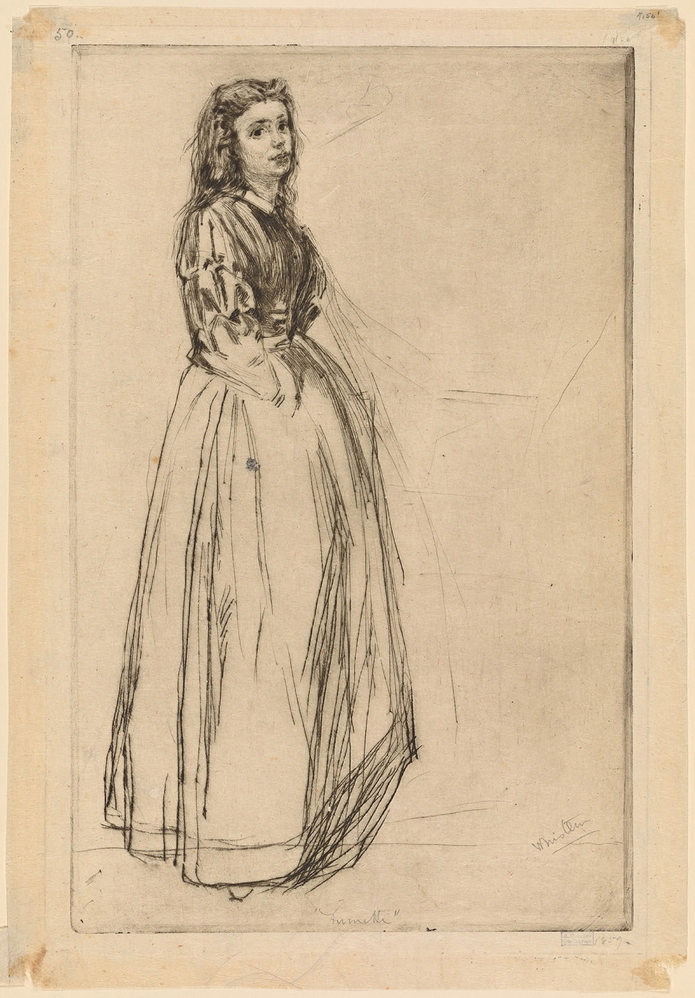 """Fumette Standing"" 1859 etching  by J. A. M. Whistler"