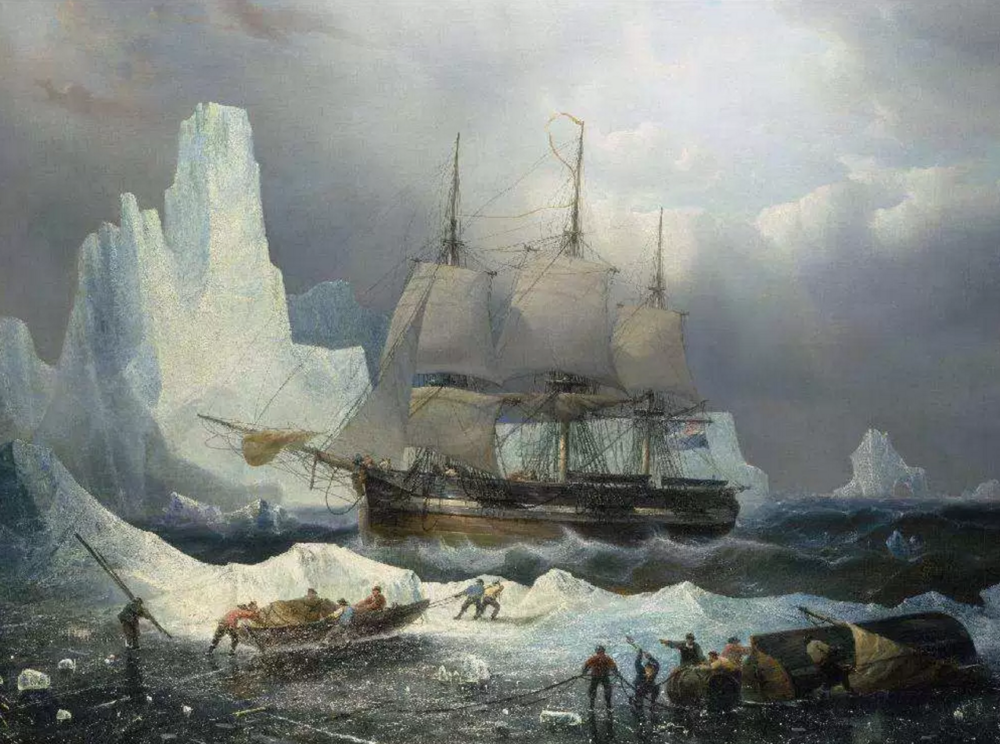 Une Peinture 'HMS Erebus in the Ice', 1846, par Francois Etienne Musin, 19th century.