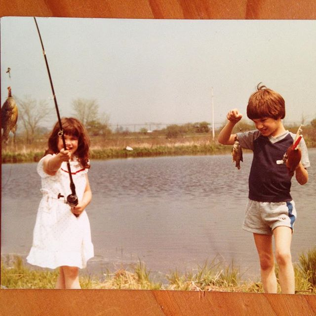 Organizing the office today and couldn't help but laugh at this #goldenoldie. Judging by the look on my face I was not impressed about getting out-fished by my sister (in a dress no less) @cdonato7 #sunfish #fishing