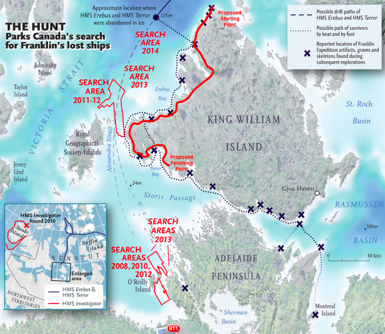 Map showing past search areas for Franklin's ships as well as known artifact sties marked with an 'X'. The  RED  line indicates the general route that the Adventure Science team is planning to travel on foot during the In Franklin's Footsteps expedition.