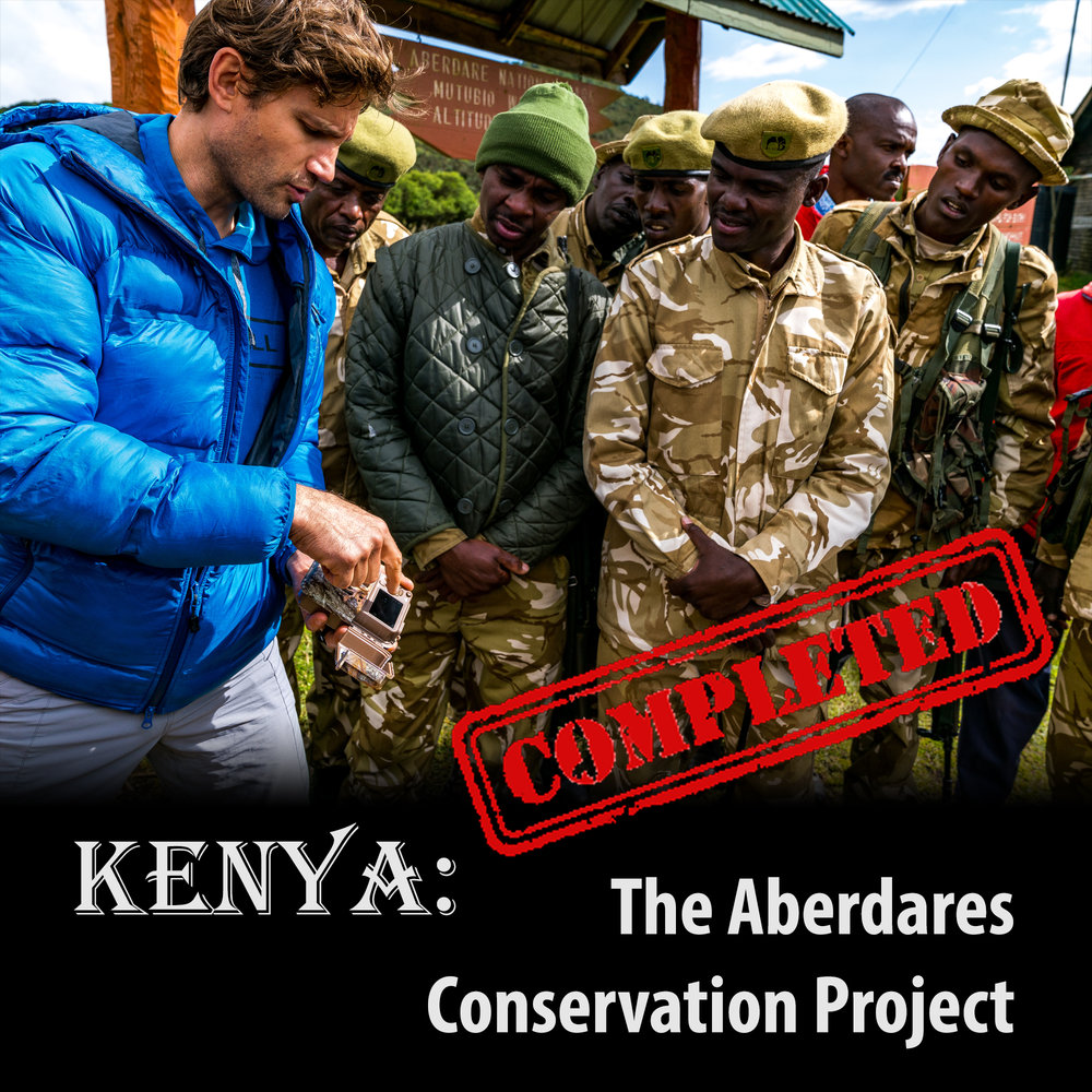 Kenya: The Aberdares Conservation Project   [ October, 2017 ]  Over the course of one week, in partnership with members of KWS and Flying Kites Global, this Merrell sponsored project was able to deploy 15 motion sensing camera traps in high-risk and high-traffic areas, with the goal of monitoring for illegal activities centred around poaching (including bushmeat), and the illegal harvest of lumber and firewood.