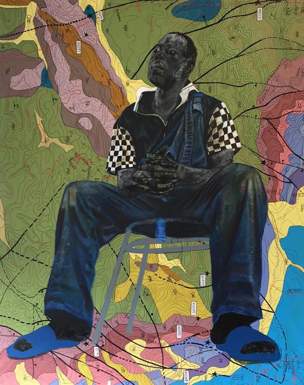 JEAN DAVID NKOT   Cartographie mentale, 2017   162 x 130 cm, Encre de chine, acrylique et posca sur toile