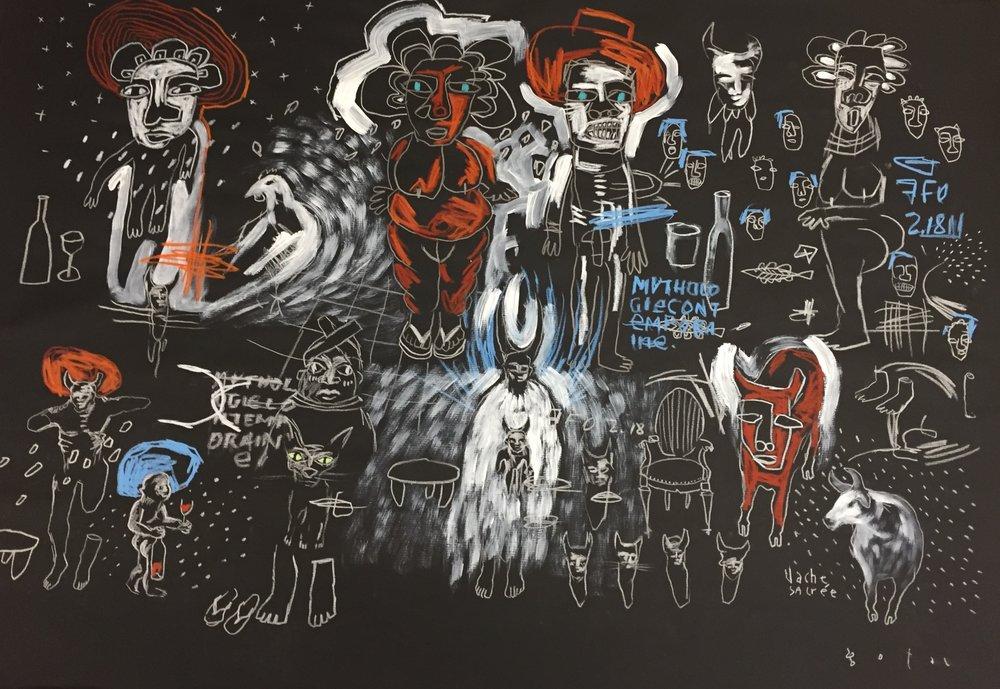 GOPAL DAGNOGO   Mythologie contemporaine, 2017   70 x 100 cm, Techniques mixtes sur papier