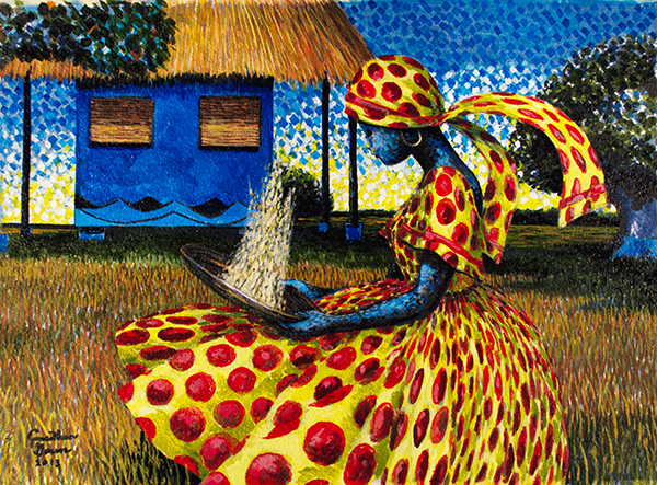 Lowcountry Blue House, acrylic on archival paper (2013) Private Collection-Blythwood, SC