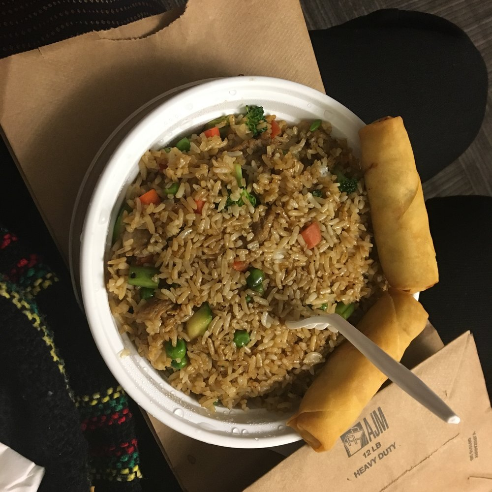 Vegetable Fried Rice and Veggie Spring Rolls
