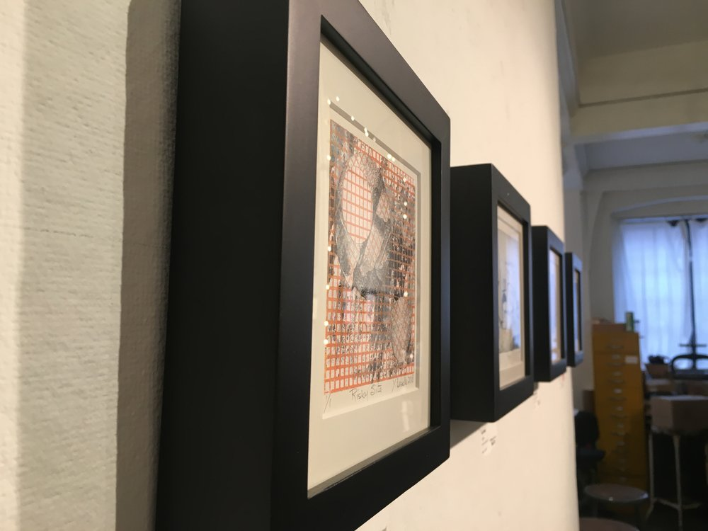 Artists from over 13 different countries are represented in the 20th Mini Print International exhibit. Several different forms of printmaking are on display, including etching and lithography, was well as other alternative/modern forms of printmaking.