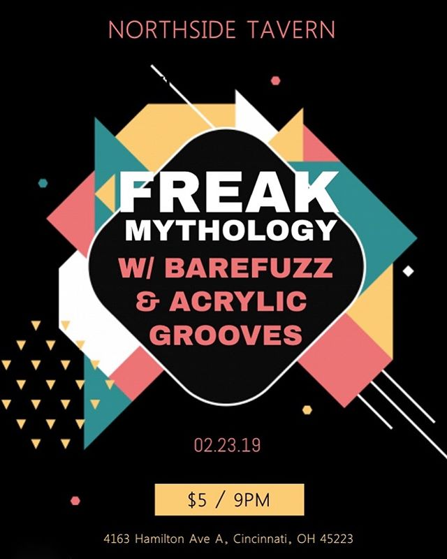 This party is right around the corner! Join us for a night of jams w/ @barefuzz & #AcrylicGrooves on Feb 23rd at @northsidetav !