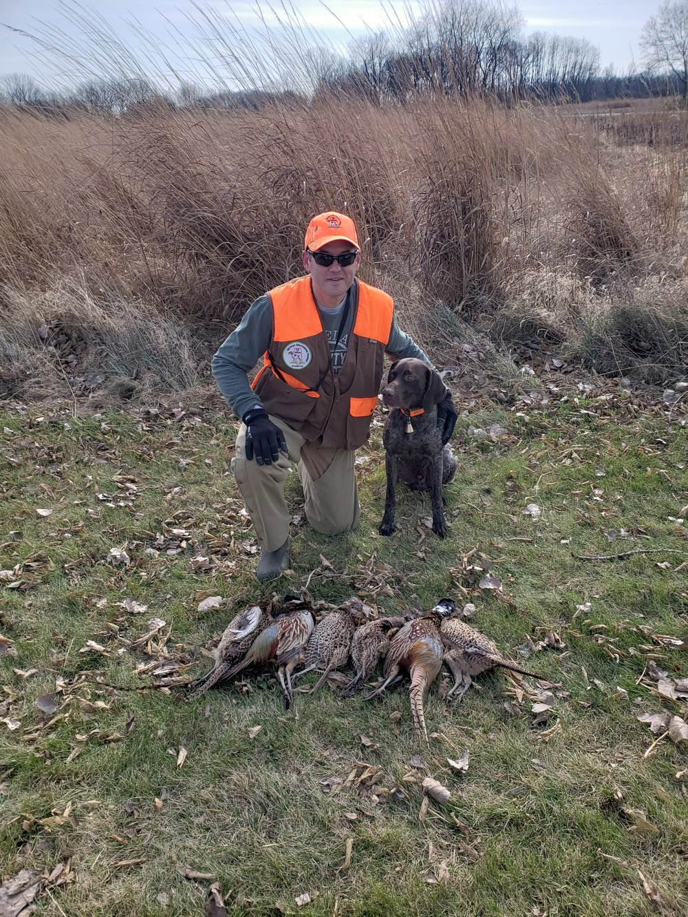 Ivan with his dog Ronnie and 3 man limit of pheasants