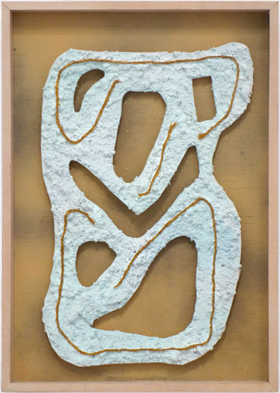 Untitled acrylic, potting soil, twine, mat board and enamel on wood panel 13x9 inches  2012