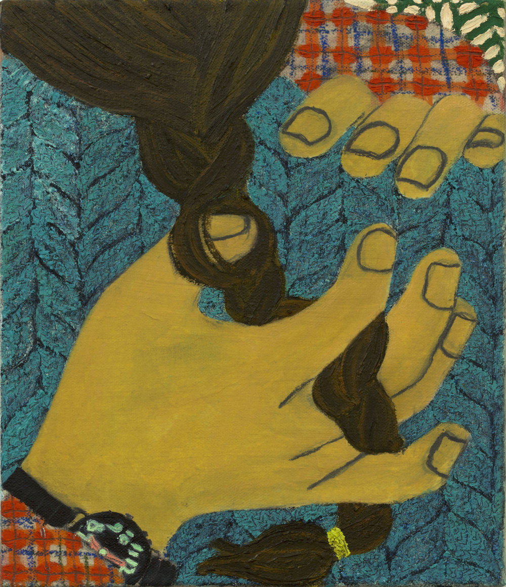 "Braid Touch Oil and paper on canvas 10in x 8"" 2015"