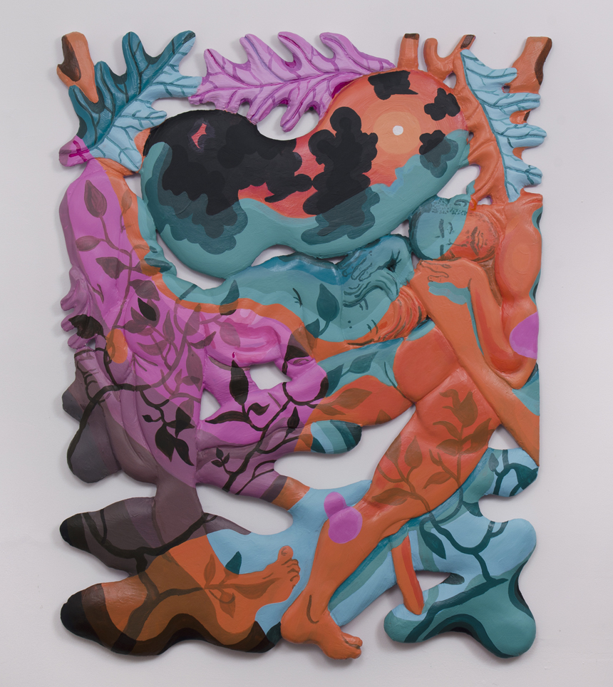 "To be titled (Sunbathers) foam, plaster, acrylic 48 x 38 x 1"" 2017"